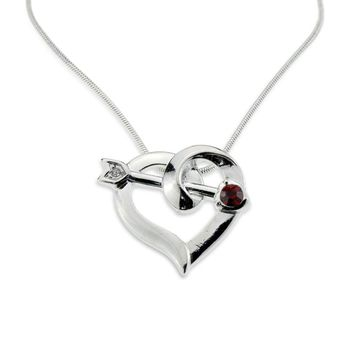 my shape Cupid Arrow RED Crystal Stone Heart Pendant Silver Plated Roman Love of god Necklace for Women Anniversary Jewelry