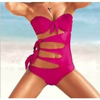 Zicac Women Tie Side Push Up Padded Swimsuit One Piece Bikini Swimwear