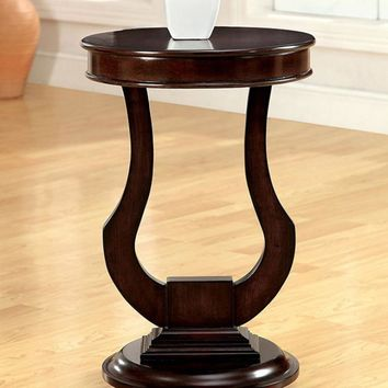 Alda Transitional Side Table, Dark Walnut