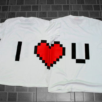 Two Pixel Heart T-Shirt Desing for couple and gamer 8 bits inspire from The legend of Zelda