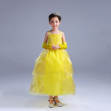 Princess Costume - Yellow Bubble Gown Skirt Belle Dress - 👗💘👑🎃👠