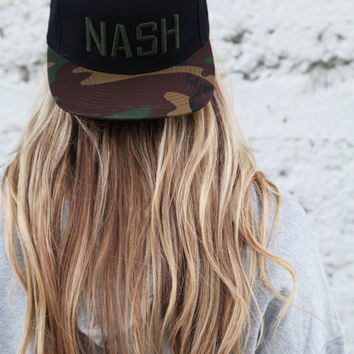 Nash Hat - Black/Camo Flat Bill
