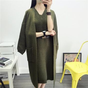 Women Fashion 2 Piece Set Sweater Ladies Knitted Cardigans And Vests Long Cape Sweaters Autumn Winter