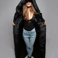 Black Wolf Duster - Long Faux Fur Coat