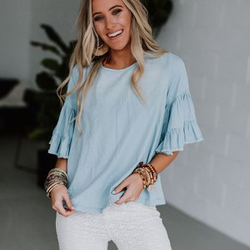 Kallisto Tier Sleeve Chambray Top - Light Blue