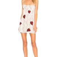 Red Hearts White Lace Mini Dress