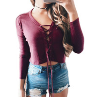 Sexy Lace Up Women Long Sleeve Shirt Solid V-neck Bandage Strappy Crop Top Knitted Slim Women Top Casual Basic t shirt Cropped