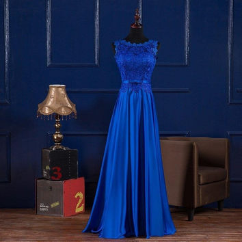 Boat Neck Lace Satin Long Evening Dress Royal Blue Burgundy 2016 Floor Length Dress Party Elegant