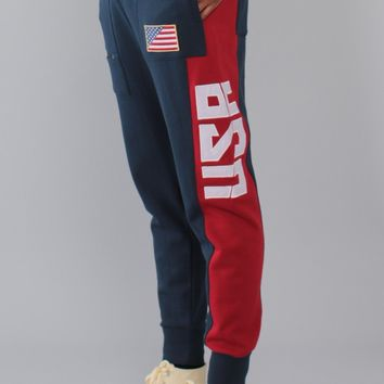 Entree LS Two Tone Navy Paneled French Terry USA Jogger