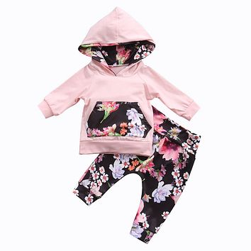 Cute Newborn Baby 2PCS Jumper Hooded Coat Tops+Floral Pants Outfit Clothing Spring Fall New Kids Infant Baby Girls Clothes Sets