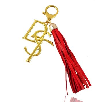 DST Red Long Leather Tassel  Keychain