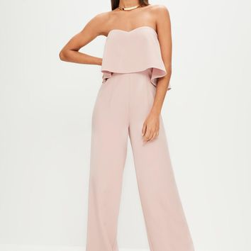 Missguided - Pink Bardot Double Layer Wide Leg Jumpsuit
