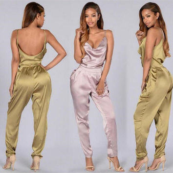 2016 Summer Rompers Women Jumpsuit Casual Long Women Rompers spaghetti strap Elegant Jumpsuit Overalls Sexy Bodysuit Macacao