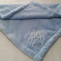Blue Baby Blanket Micro Fleece with Puppy Paw Print
