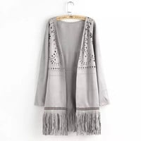 Long-Sleeve Suede Cutout Tassel Coat