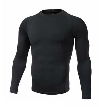 Men Running Jersey Rugby Long sleeve Fitness Gym Sports Running shirt Bodybuilding Long Sleeve Black T-Shirts Skinny Compression