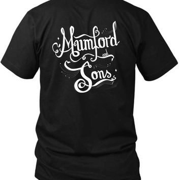Mumford And Sons Title Typography Fan Art 2 Sided Black Mens T Shirt