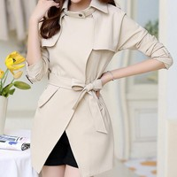Belt High Neck Long Sleeves Irregular Slim Mid-length Coat