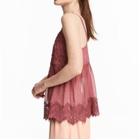 Wide top with lace straps - Brick red - Ladies | H&M GB