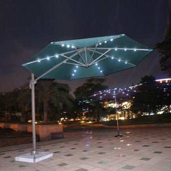 Dia 3 meter 360 degrees rotation aluminum patio parasol sun umbrella with Led light garden sunshade outdoor furniture covers