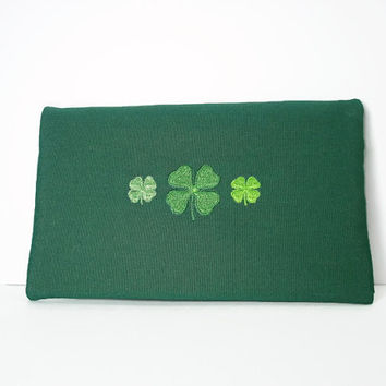 St. Ptrick's Day Green Shamrocks Clutch/Wallet,Zippered Green Clutch,St. Patrick's Wallet,Embroidered Shamrocks on a Green Zip Wallet