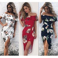 Floral Print Off The Shoulder Ruffle Sheath Dress -3 Color Options-