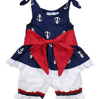 Baby Girl Clothes kids brand Newborn baby girls clothing sleeveless Anchor Bow Cotton Tops Vest+Shorts Outfits Set bebes Sunsuit