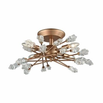 Serendipity 4 Light Semi Flush In Matte Gold With Clear Bubble Glass