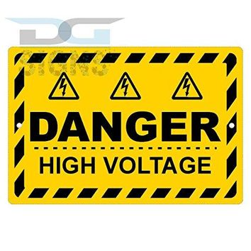 DANGER HIGH VOLTAGE YELLOW SIGN aluminum sign