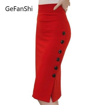 PEAPUNT Plus Size New Fashion 2017 Women Skirt Midi Skirt Slim OL Sexy Open Slit Button Slim Pencil Skirt Elegant Ladies Skirts 2 Colors