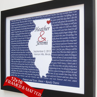 Romantic Custom Song Lyrics Wedding Gift:  12x16 Customized Map Lyrics Song Quote Engagement Gift12x16 Frame Mat Personalized Art il Print