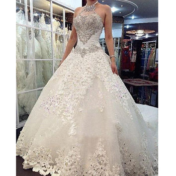 Charming Design Top Crystal Luxury Wedding Dress Cathedral Train Bridal Gown Wedding Dresses vestido de noiva