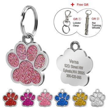 Glitter Paw Customer Pet ID Tags 6 Colors Personalized Engraved For Dog & Cat  Reflective Paw Print Tag