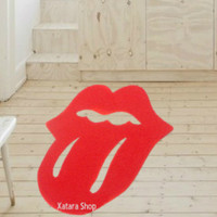 Rockstar rug. Floor mat based in the tongue of The Rolling Stones. Logo doormat