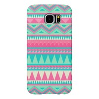 Colorful Aztec Chevron Zig Zag Stripe Pattern Samsung Galaxy S6 Cases