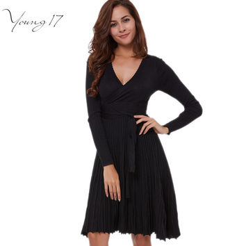 Young17 2016 Autumn Women Knitted Dresses black Casual Deep V Neck Sexy Bodycon Slim Flare Pleated Sash Female Knee Length Dress