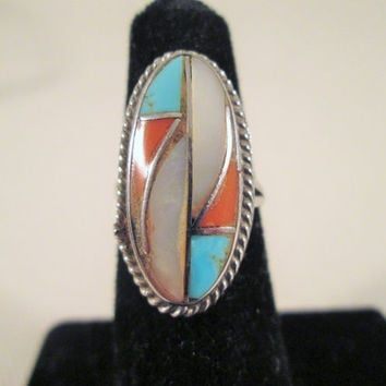 Sterling Silver Inlay Ring Size 5 Turquoise Coral MOP Southwestern Oblong 4.4g Gemstone Ethnic Jewelry