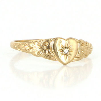 Vintage 10 Karat Yellow Gold Diamond Heart Child Baby Push Ring Midi Estate Jewelry