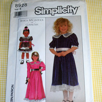 Girls Size 4 Jessica McClintock for Gunne Sax Pattern Simplicity 8928 UNCUT Vintage Sewing Pattern