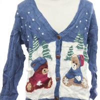 Blue Ugly Christmas Cardigan 6989 - The Sweater Store