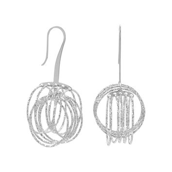 Rhodium Plated 3D Orbital Disc Earrings