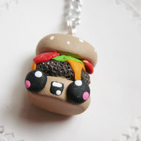 Kawaii Cheeseburger Necklace Polymer Clay Jewelry Food Jewelry for Tweens Teens and Adults