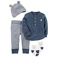 carter's® 4-Piece Babysoft Thermal Shirt, Pant, Hat, and Socks Set in Navy