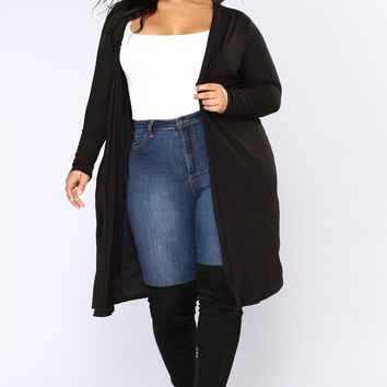 Ali Ribbed Cardigan - Black