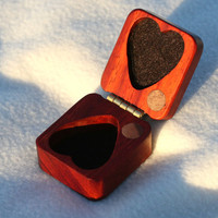 Valentines Gift Box Red Padauk HEART Hard Wood perfect gift for those you love PERSONALIZED