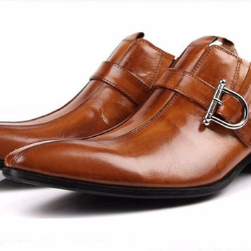 Large size EUR45 Brown/black pointed toe summer loafers men dress shoes genuine leather formal business shoes mens wedding shoes