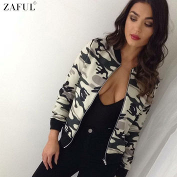 ZAFUL Thin Jacket Spring Women Flower Camouflage Print Celeb Bomber Long Sleeve Coat Casual Stand Collar Slim Short outwear