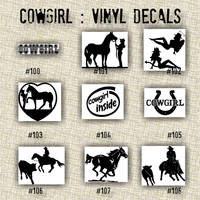 COWGIRL vinyl decals | country western | country girl | car decals | car stickers | laptop sticker - 100-108