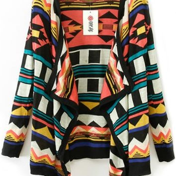 Geometric Pattern Knit Wrap Cardigan - OASAP.com