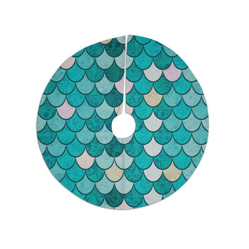 "Famenxt ""Mermaid Fish Scales"" Teal Nautical Illustration Christmas Tree Skirt"